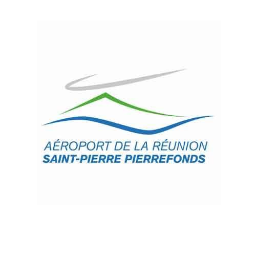 Le logo de l'aéroport de La Réunion Saint-Pierre Pierrefonds. C'est une référence client d'Antoine Chadufau en conseil en communication.