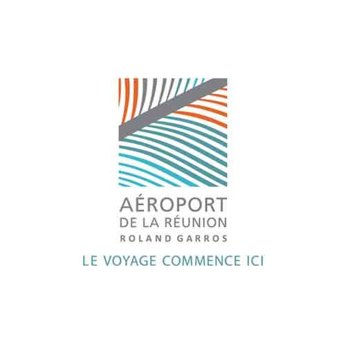 Le logo de l'aéroport de La Réunion Roland Garros. C'est une référence d'Antoine Chadufau en conseil en communication.