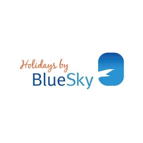 Logo de l'agence de voyages Holidays by Bluesky est un hublot d'avion avec une aile d'avion à l'intérieur. Il s'agit d'une référence client en conseil en communication d'Antoine Chadufau.