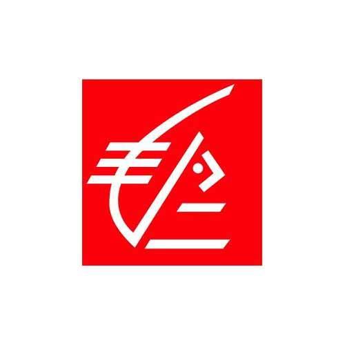 La banque Caisse d'Epargne est une référence client en communication d'Antoine Chadufau. Le logo de cette banque rouge et blanc illustre ici cette référence.