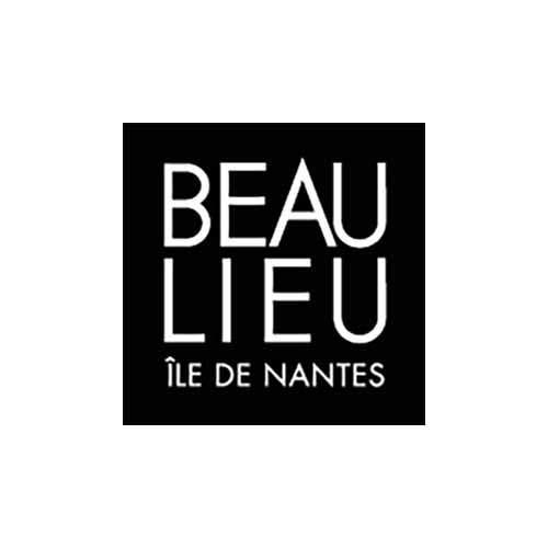 Le logo du centre commercial Beaulieu de Nantes est un carré noir avec de la typo en blanc.