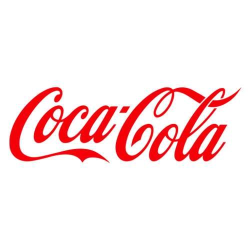 Le logo de Coca-Cola. Il s'agit d'une référence client en conseil en communication d'Antoine Chadufau.