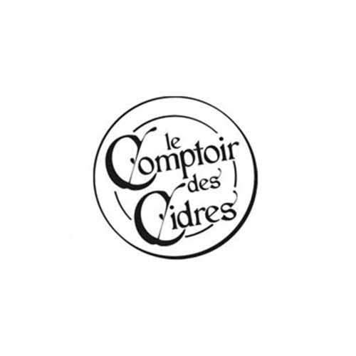 Le logo de la marque de cidre Comptoir des Cidres. Il s'agit d'une référence client en conseil en communication d'Antoine Chadufau.
