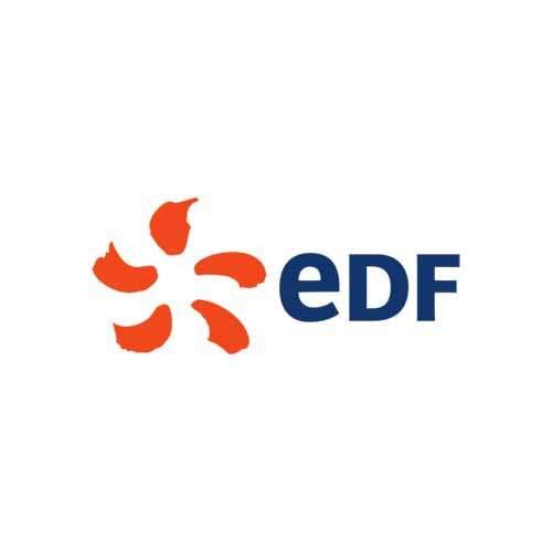 Le logo d'EDF, référence client d'Antoine Chadufau en communication
