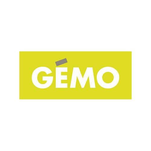 Le logo de l'enseigne de moide Gémo. Il s'agit d'une référence en conseil en communication d'Antoine Chadufau.