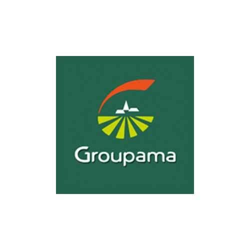 Le logo de la société d'assurance et de banque Groupama Ocean Indien. Il s'agit d'une référence en conseil marketing et digital d'Antoine Chadufau.