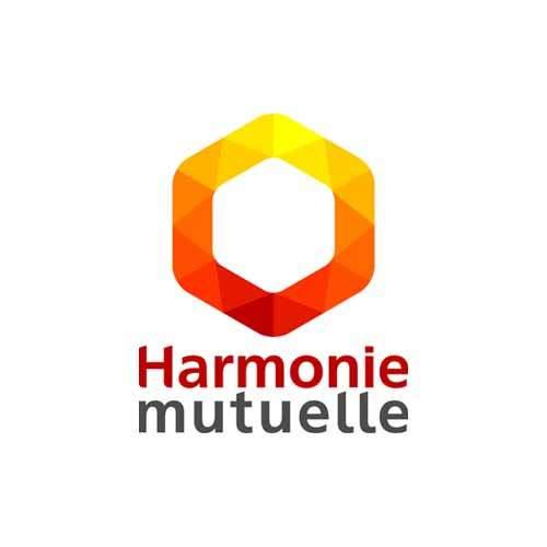Le logo de la mutuelle Harmonie Mutuelle orange en forme de nid d'abeille. Il s'agit d'une référence client conseil en communication d'Antoine Chadufau.