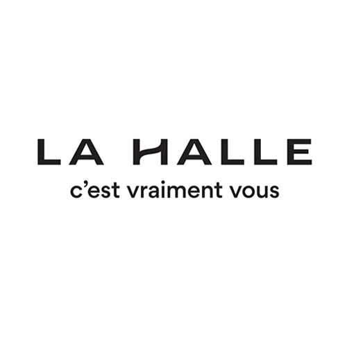 Le logo de l'enseigne de mode La Halle. Il s'agit d'une référence conseil en communication d'Antoine Chadufau.