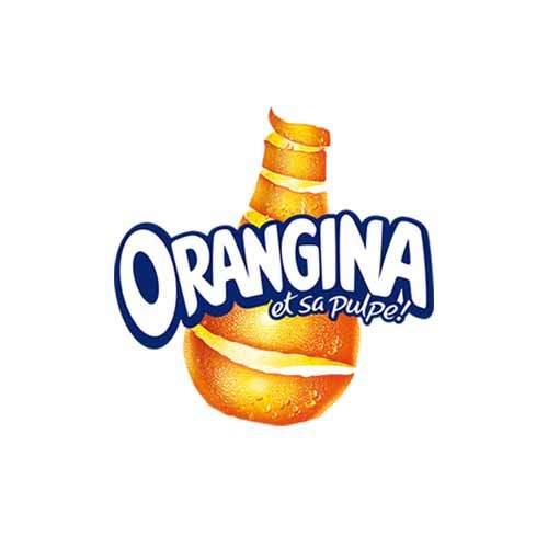 Le logo de la marque de boisson gazeuse Orangina. Il s'agit d'une référence en conseil en communication d'Antoine Chadufau.