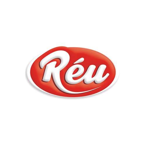 Le logo de la marque de viennoiserie Réu est rouge et blanc. Il s'agit d'une référence newbiz d'Antoine Chadufau pour Imagecorp.