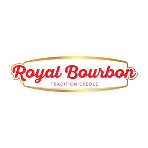 Le logo de la marque réunionnaise de produits préparés Royal Bourbon. Il s'agit d'une référence newbiz d'Antoine Chadufau pour Imagecorp.