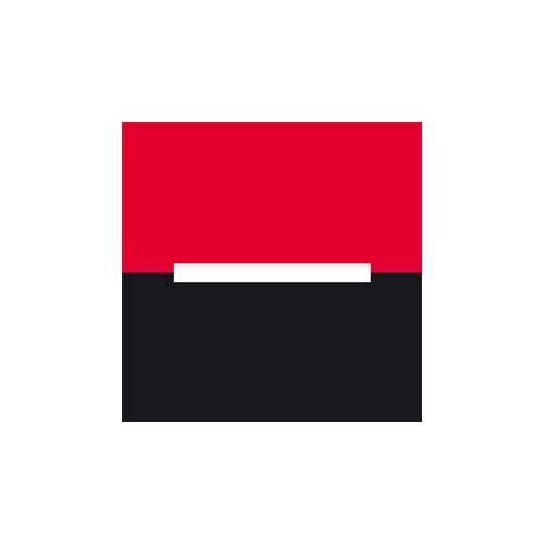 Le logo de la banque Société Générale est un carré rouge et noir avec un trait blanc