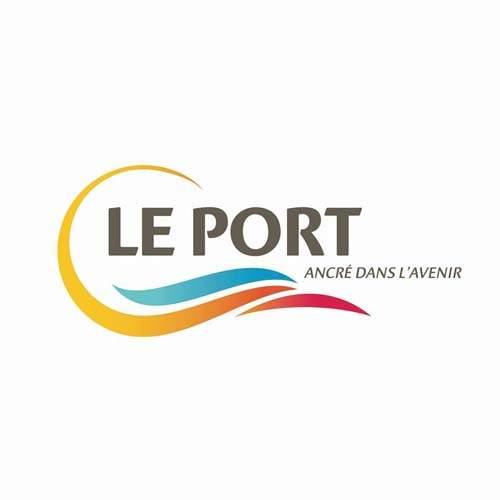 Le logo de la ville du Port à La Réunion. Il s'agit d'uen référence newbiz et branding d'Antoine Chadufau pour l'agence de pub Imagecorp.