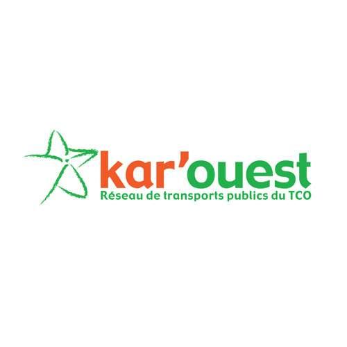 Le logo de kar'ouest, le réseau de transport en commun de l'ouest de La Réunion. Il s'agit d'une référen.ce conseil en communication d'Antoine Chadufau