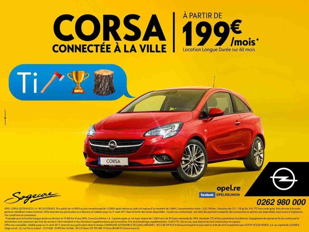 Affiche de publicité sur fond jaune avec un rebus en créole pour promouvoir l'opel Corsa à La Réunion