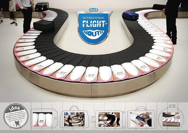 Campagne d'ambient marketing d'Oral B dans un aéroport au Japon.