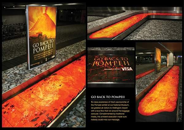 Campagne d'ambient marketing d'un museé italien dans un aéroport.