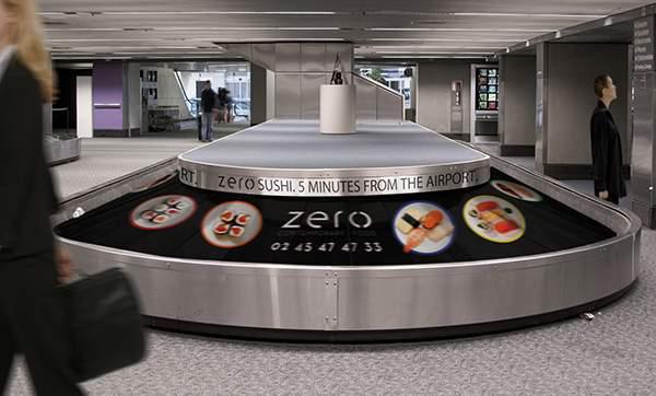 Campagne d'ambient marketing de Zero Sushi dans un aéroport.