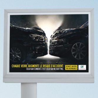 Le visuel in situ de la campagne de lutte contre la conduite en état d'ivresse à La Réunion.