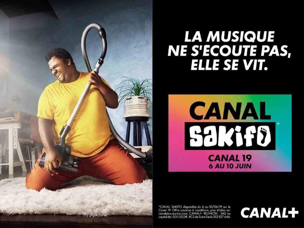 Campagne d'affichage publicitaire de Canal+ Réunion pour Canal Sakifo à La Réunion en 2019
