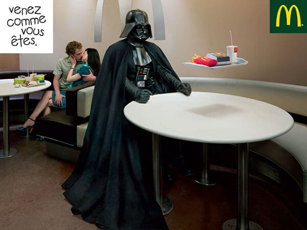campagne de publicité Mac Donald's avec Dark Vador de Star Wars