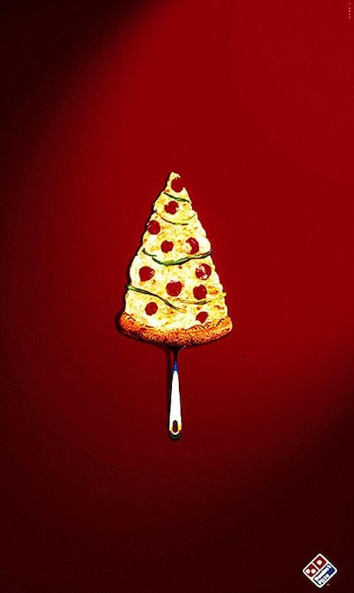 Top 30 des publicités créatives autour du sapin de Noël 9 Domino's